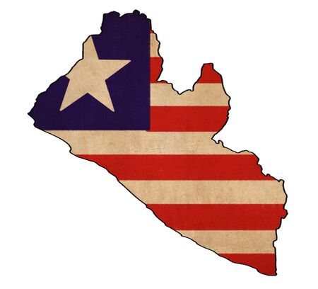 liberia: Liberia map on Liberia flag drawing ,grunge and retro flag series