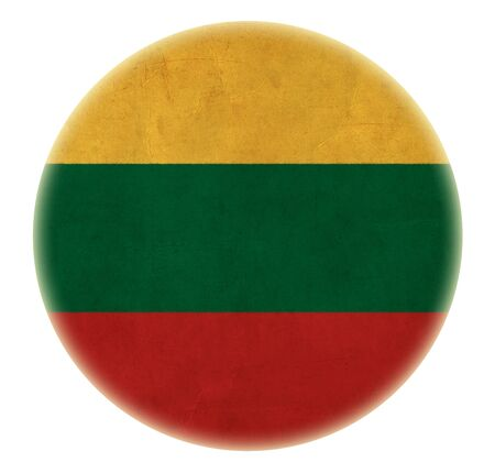 grunge Lithuania flag drawing button photo
