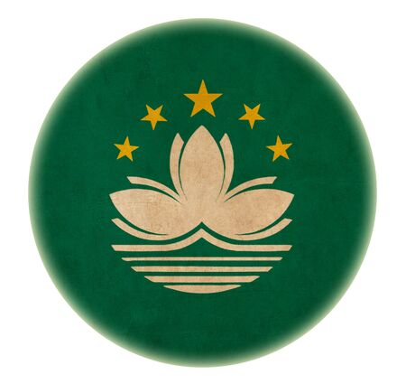 grunge Macau flag drawing button  photo