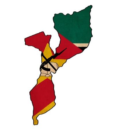 mozambique: Mozambique map on Mozambique flag drawing ,grunge and retro flag series