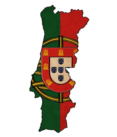Portugal map on Portugal flag drawing ,grunge and retro flag series photo