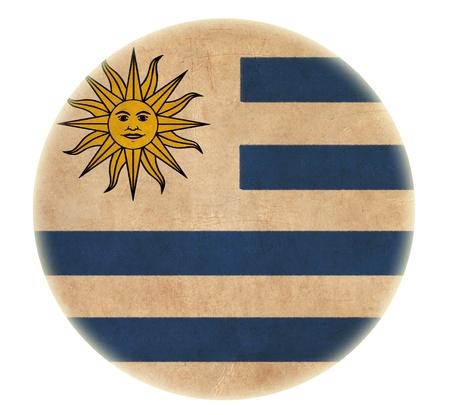 uruguay flag: grunge Uruguay flag drawing button  Stock Photo