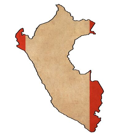 peru map: Peru map on Peru flag drawing ,grunge and retro flag series