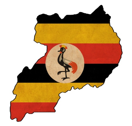 ouganda carte sur le dessin drapeau ouganda, drapeau grunge et rétro série