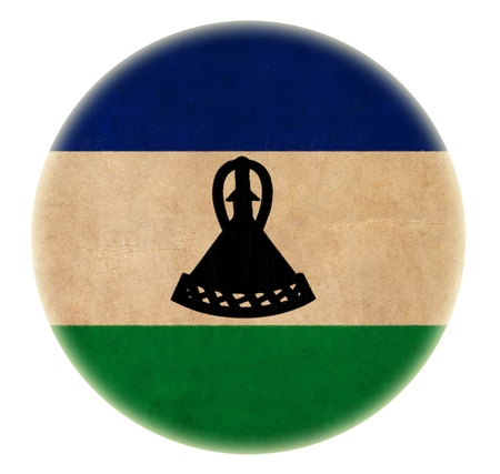 lesotho: grunge Lesotho flag drawing button