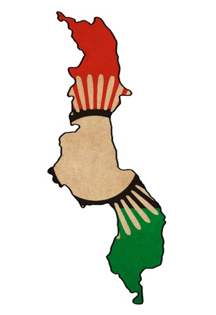 Malawi carte sur le dessin drapeau Malawi, grunge et rétro flag series Banque d'images
