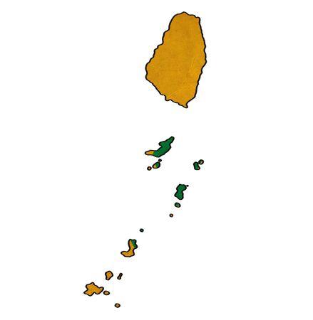 grenadines: Saint Vincent Grenadines map on Saint Vincent Grenadines flag drawing ,grunge and retro flag series Stock Photo