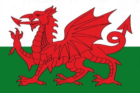 Dessin drapeau du Pays de Galles en pastel sur papier fusain Banque d'images