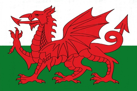 welsh flag: Galles disegno bandiera di pastello su carta carbone