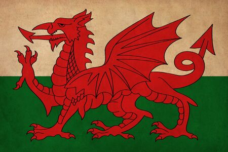 welsh flag: Wales flag drawing ,grunge and retro flag series  Stock Photo