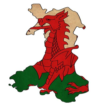 cymru: Wales map on Wales flag drawing ,grunge and retro flag series Stock Photo