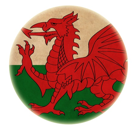 grunge Wales flag drawing button  photo