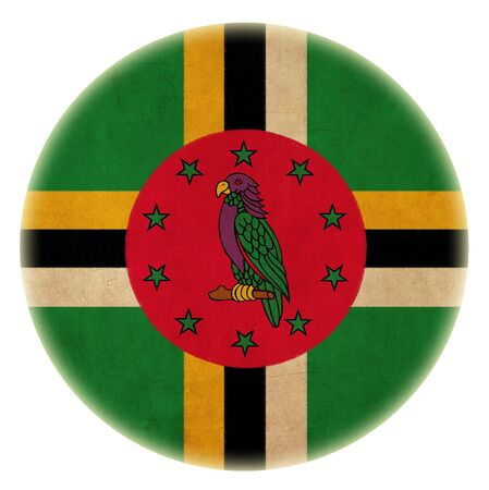 grunge Dominica flag drawing button  photo