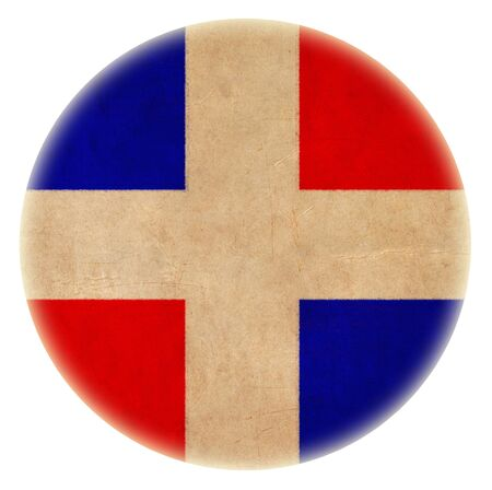 grunge Dominican flag drawing button photo