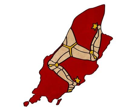 Isle of Man sur la carte de l'île de Man Dessin drapeau, grunge et rétro série drapeau