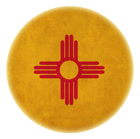 grunge New Mexico flag drawing button  photo