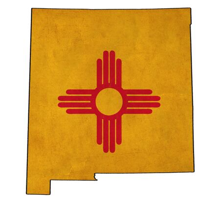 New Mexico map on New Mexico flag drawing ,grunge and retro flag series  photo
