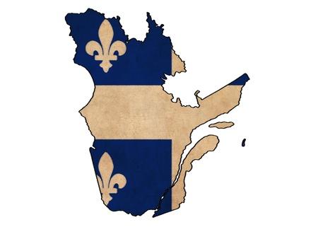 Québec sur la carte dessin drapeau du Québec, grunge et rétro flag series