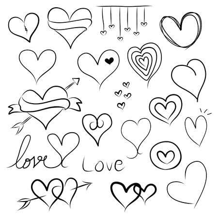Set of doodle hearts Stock Photo - 17422555