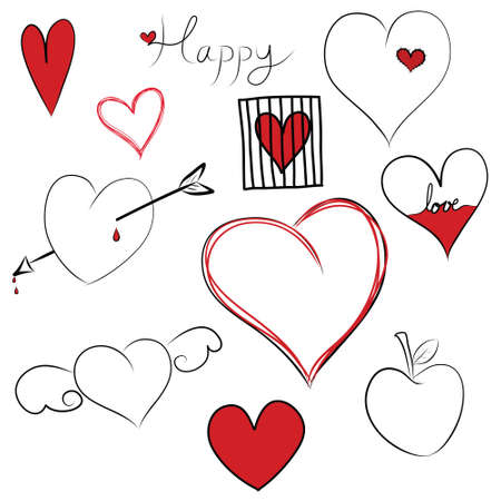 Set of doodle hearts photo