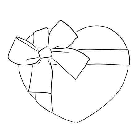 drawing heart with big ribbon bow  photo