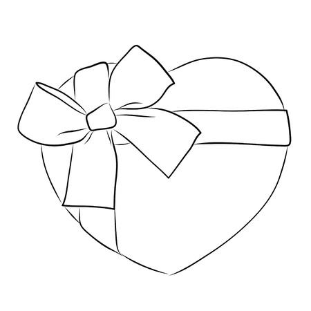 drawing heart with big ribbon bow Stock Photo - 17422537