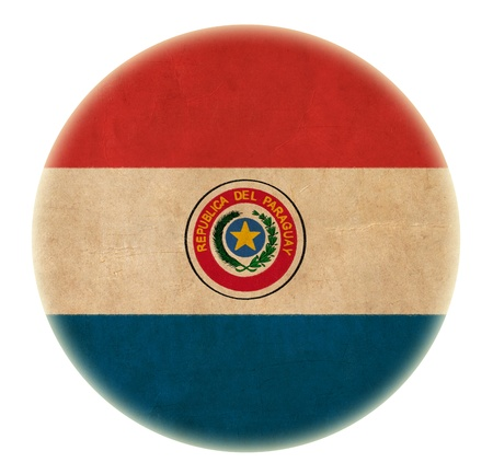 bandera de paraguay: grunge bot�n dibujo bandera de Paraguay