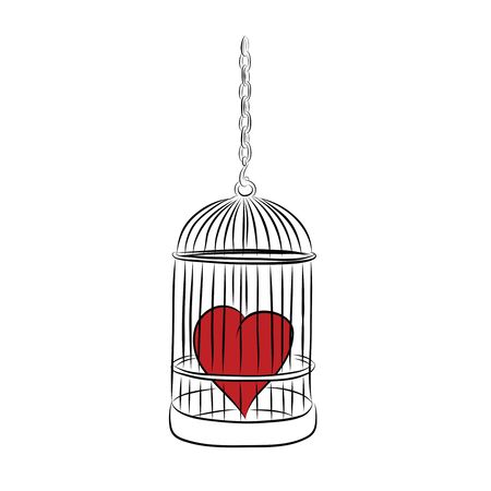 cage with red heart photo