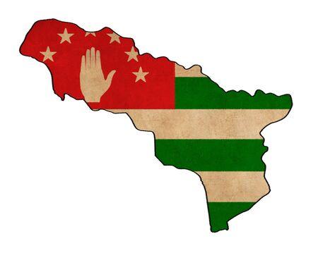 abkhazia: Abkhasia map on Abkhasia flag drawing ,grunge and retro flag series