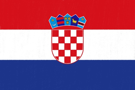 Croatia flag drawing by pastel on charcoal paper Stock Photo
