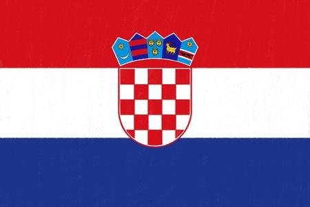 Croatie Dessin drapeau par pastel sur papier de charbon de bois