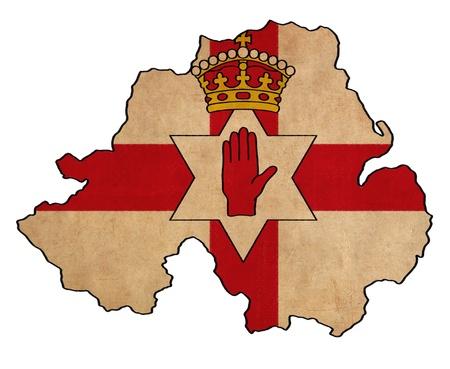 Carte d'Irlande du Nord Irlande du Nord sur le dessin du drapeau, grunge et séries drapeau rétro