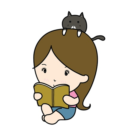 a small girl reading book cartoon photo