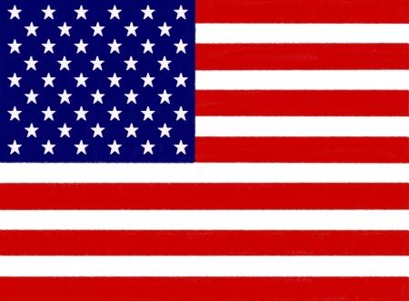 USA flag dessin en pastel sur papier de charbon de bois