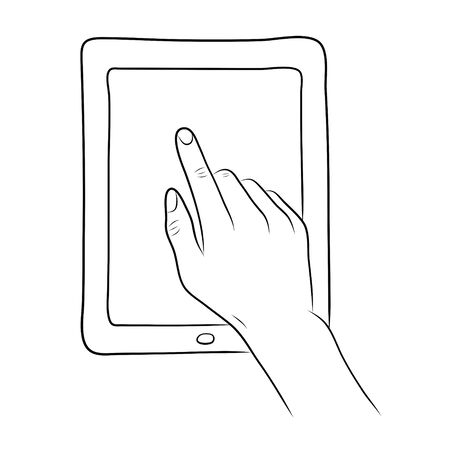 multi touch: hand touch screen on tablet pc