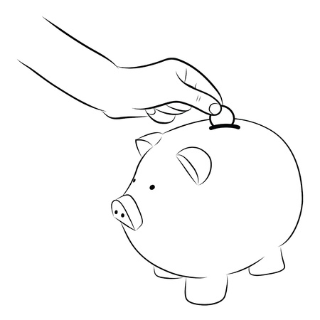 hand putting coins money into saving piggy bank photo