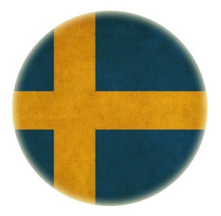 bandera de suecia: grunge bot�n dibujo bandera de suecia Foto de archivo