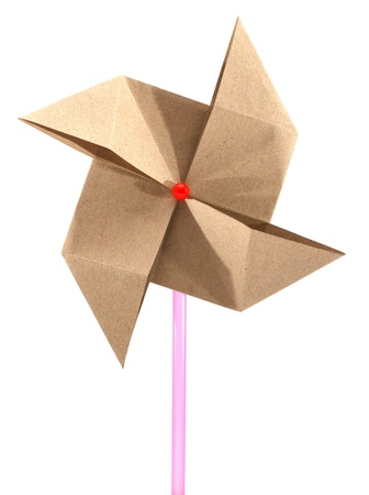 Origami recycle paper windmill photo