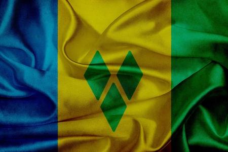 grenadines: Saint Vincent Grenadines grunge waving flag