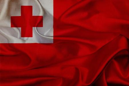 Tonga grunge waving flag