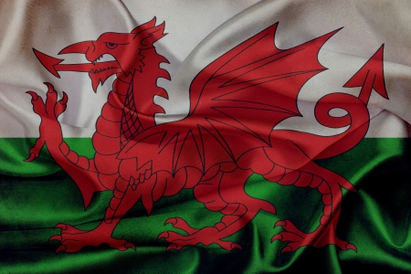 welsh flag: Wales grunge waving flag
