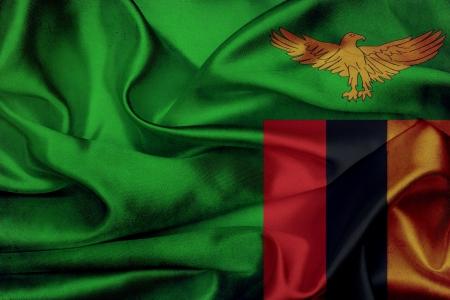 zambian: Zambia grunge waving flag Stock Photo