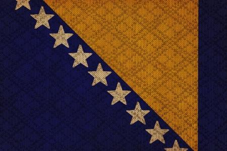 herzegovina: Bosnia and Herzegovina grunge canvas flag