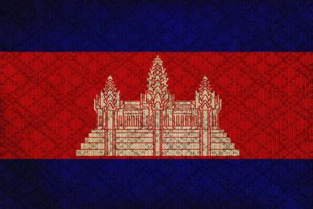 Cambodia grunge canvas flag photo