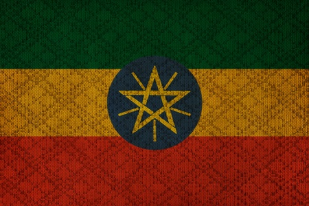 ethiopia abstract: Ethiopia grunge canvas flag