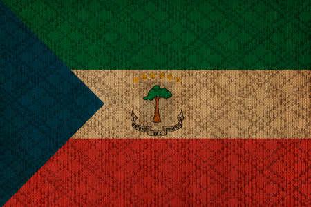 equatorial guinea: Equatorial Guinea grunge canvas flag Stock Photo