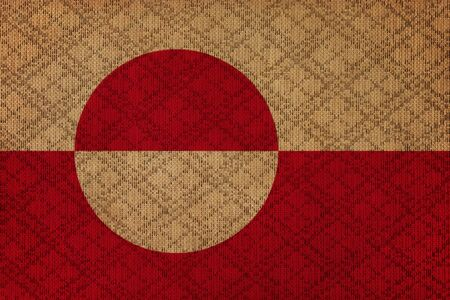 greenlandic: Greenland grunge canvas flag