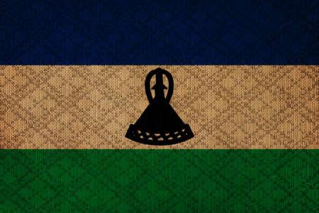 lesotho: Lesotho grunge canvas flag