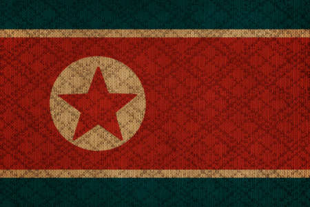 North Korea grunge canvas flag photo