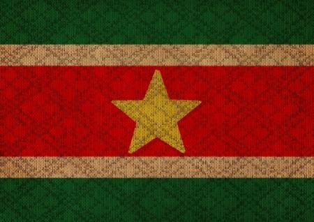 suriname: Suriname grungecanvas vlag Stockfoto